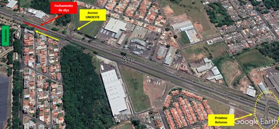 Motorista que trafegar no sentido Presidente Epitácio – Prudente, deverá seguir até o próximo retorno, no km 570+450